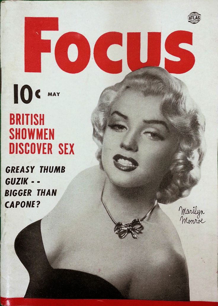 Focus - May 1953, magazine from USA. Front cover photo of Marilyn Monroe by Anthony Beauchamp, 1951.
