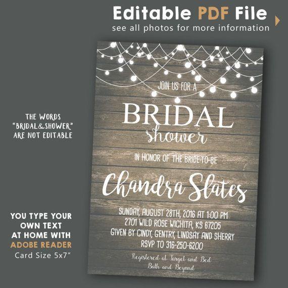 INSTANT DOWNLOAD Rustic String Lights Bridal Shower
