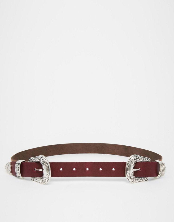 Cinturón de cuero con diseño colour block de dos hebillas y estilos para la cintura y la cadera de ASOS