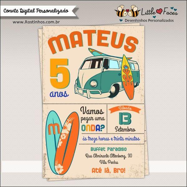 Convite Festa Aniversário Surf Vintage para imprimir