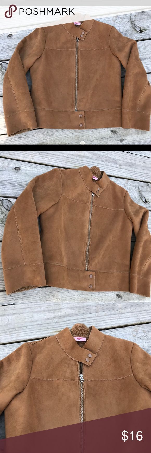 """Vegan Suede and shearling large camel color jacket Excellent condition full zip up with two bottom buttons and to top buttons. No pockets. Size large. Pitt to pit laying flat 20.5 inches. Pit to hem 13 inches. Pit to cuff 17"""" zipper Jackets & Coats"""