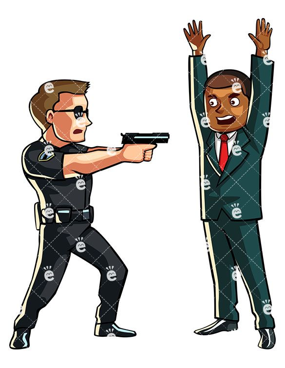 Policeman Pointing A Gun At His Suspect In 2019 Black