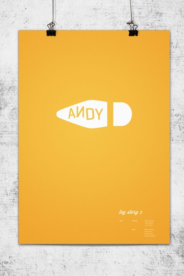Another minimalist poster from Pixar, from one of their most popular films. Again, only two colors but still wildly effective because the image is so recognizable. It even has an emotional quality to it because in the last movie, Woody finds a new home and gets a new owner but we will always associate him as Andy's favorite toy.