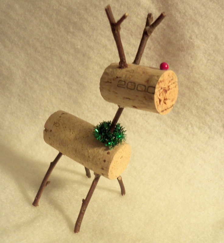 teeny tiny wine cork reindeer