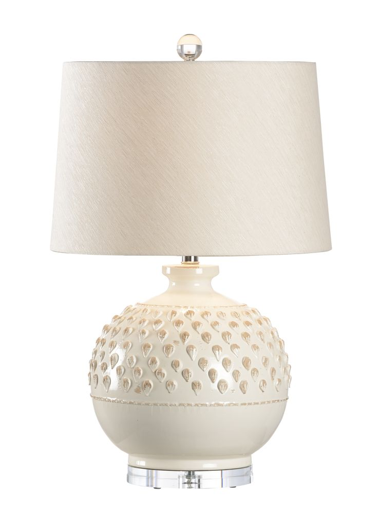 Italian Ceramic Aged Cream Table Lamp with Shade - CURRENTLY ON BACKORDER