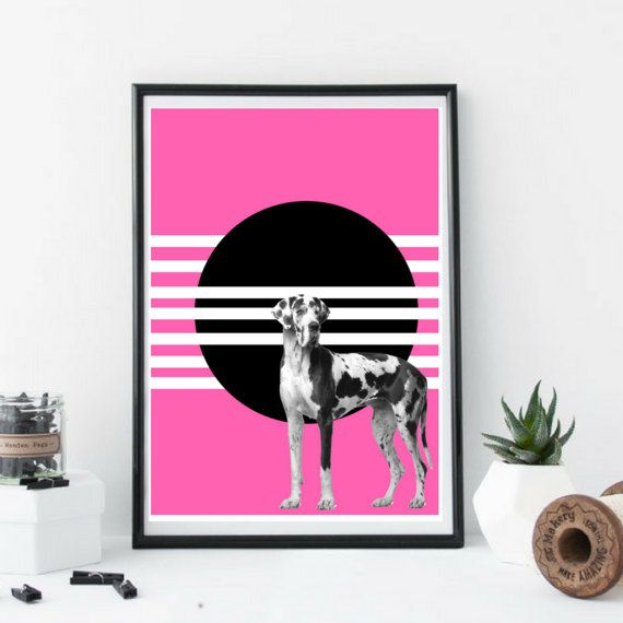 Great Dane Dog Art Print Colour Geometric Wall Art Black