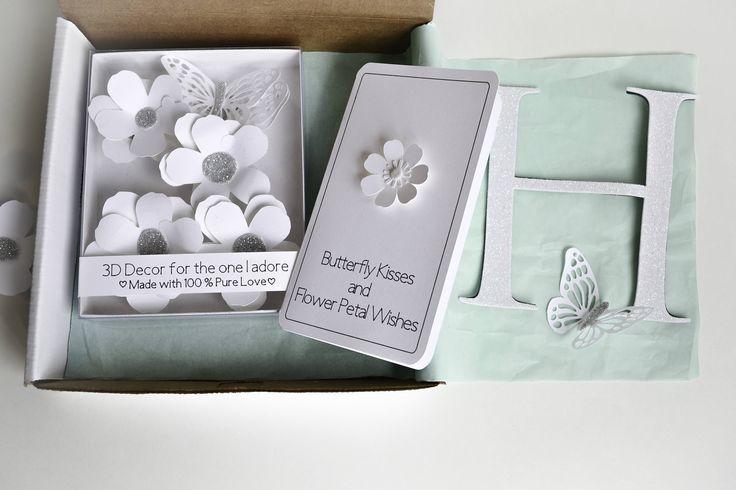 Baby Shower Gift Basket, Baby Girl Gift Set, New Mom Gift set, Newborn Baby Gift, Paper flower decor, Nursery Decor, Personalized Monogram by KomalWorks on Etsy