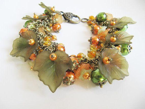 Charm bracelet, jewelry, chunky bracelet, jewelry set, beadwork bracelet, orange bracelet, dangle earrings, flower bracelet