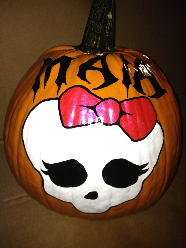 Monster high skull pumpkin hand painted pumpkins 2012 for Boo pumpkin ideas