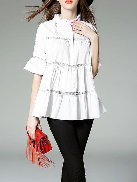 White Paneled A-line Cotton-blend Half Sleeve Blouse