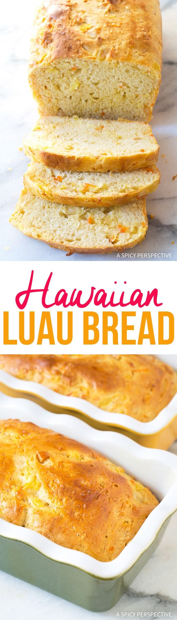 Hawaiian Luau Bread Recipe - Straight from the shores of the Hawaiian Islands, this soft tender yeast bread is speckled with macadamia nuts, carrots, pineapple and coconut! via @spicyperspectiv