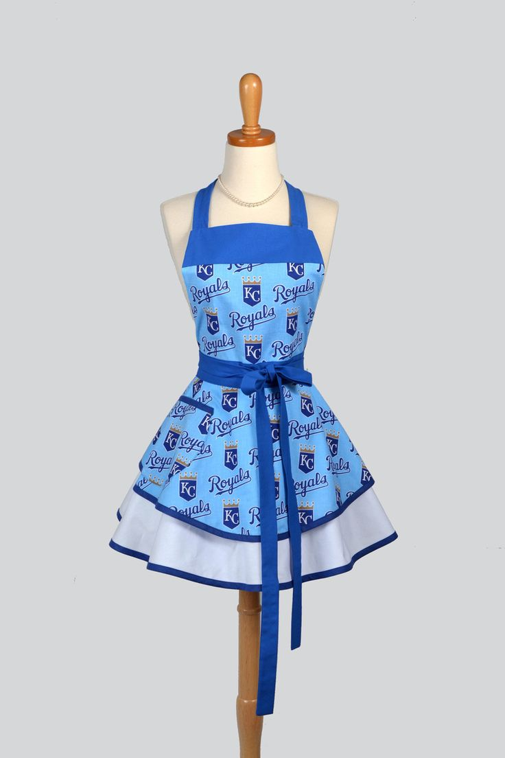 Ruffled Retro Womens Kitchen Cooking Tailgate Aprons for KCRoyals fans, GoRoyals handmade by CreativeChics