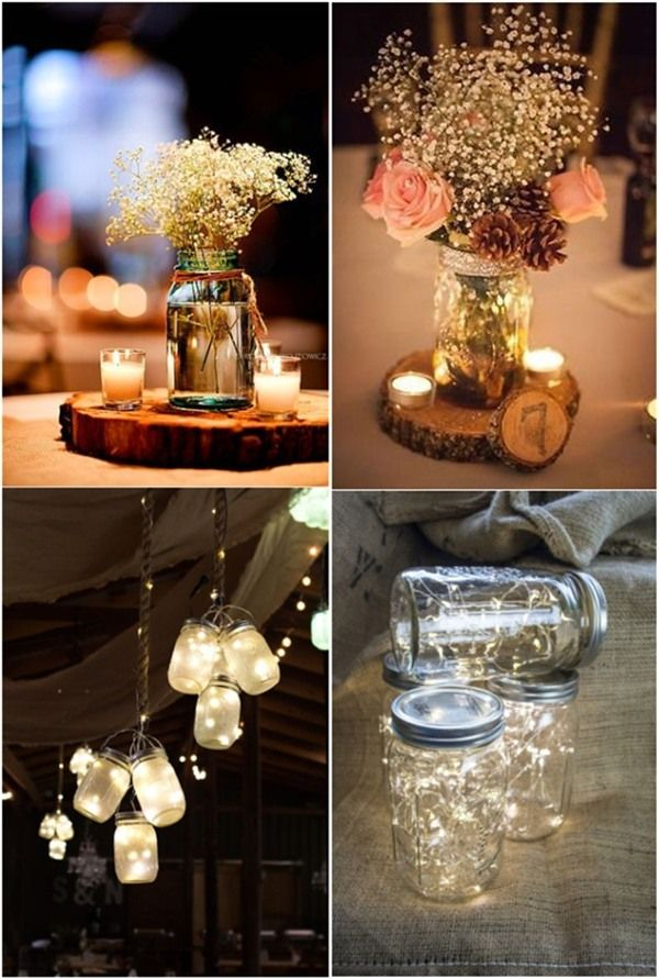 Rustic wedding centerpieces with mason jars and tree trunk