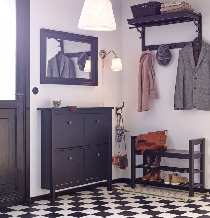 An organized entryway makes every morning easier.  Our HEMNES collection has everything you need from shoe storage to hooks and coat racks.