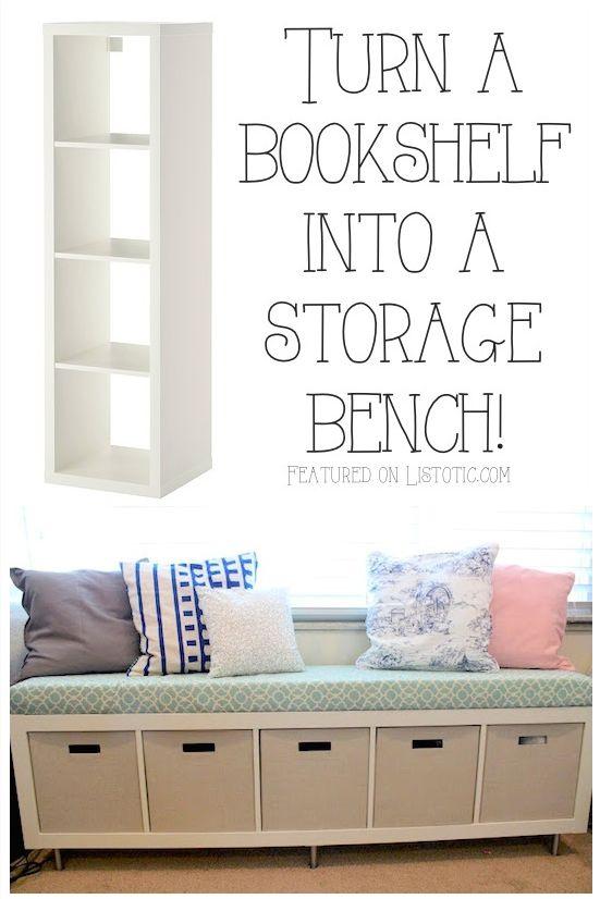 Bookshelf Storage Bench: Turning A Simple IKEA Bookshelf On Its Side To  Create A Storage Bench Seat. ähnliche Tolle Projekte Und Ideen Wie Im Bild  ...