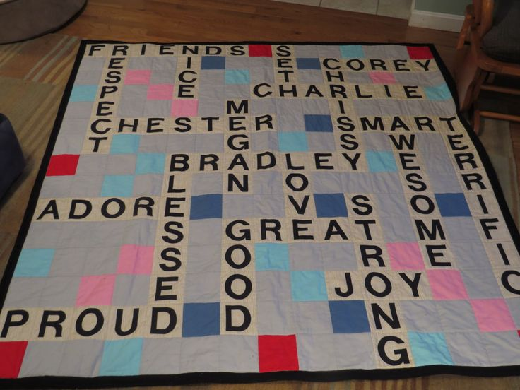 Scrabble Quilt with words of love