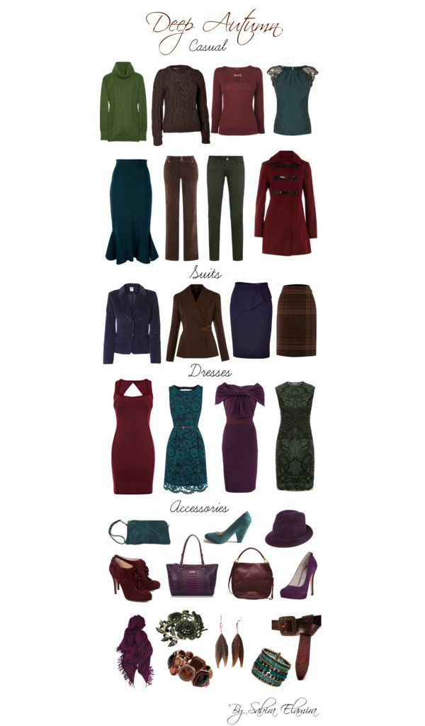 """Deep Autumn dark colors"" by sabira-amira ❤ liked on Polyvore These are good colors, not necessarily styles"