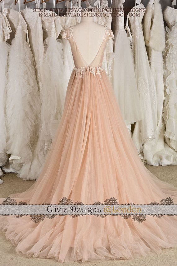 Blush Cap Sleeves Illusion Neckline Backless by CliviaDesigns