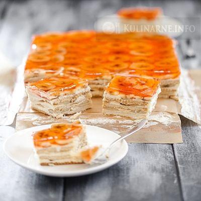 Ciasto bez pieczenia z kremem budyniowym i bananami