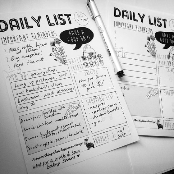 FREE printable Daily to do List for 2016... graphic design fashion, stationery, gifts, presents, baby grow, kids clothing, paper goods,  wedding stationery, notebooks, handmade, illustration, illustrated,  accessories,art, art prints, jewelry, jewellery, earrings, necklaces,  moomins, moomin, kitsch, kawaii, indie, quirky, alternative, punk rock,  japanese, cute, super cute, whimsical, watercolour, painting, modern art,  contemporary art fairytale art, magical, mythical, cats, animal art