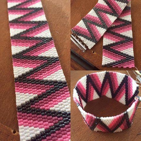 #zsuwel #bracelet #jewellery #jewelry #fashion #fashionjewelry #divat #ékszer #karkötő #pink #hematit #cikkcakk #peyote #beadwork #gyöngyékszer