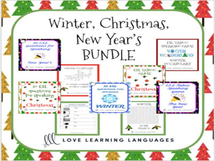 ESL - ELL Christmas, Winter and New Year's Speaking Games and Activities Bundle<br />  <br />  This is a bundle of 9 resources to carry you through winter and the holidays. <br />  <br />  Here is everything that is included:<br />  <br />  ⭐ Winter vocab...