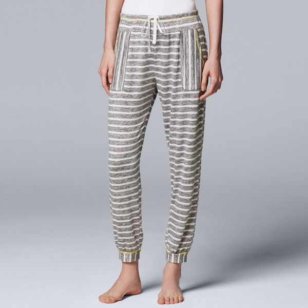 Women's Simply Vera Vera Wang Waking Hours Cropped Pant (90 ILS) ❤ liked on Polyvore featuring pants, capris, grey, cropped capri pants, drawstring capri pants, cropped pants, draw string pants and cropped trousers