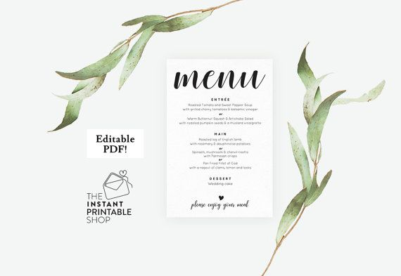 Wedding menu template Wedding menu by instantprintableshop on Etsy