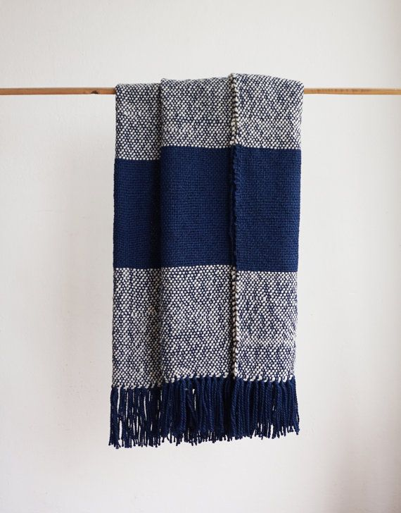 Striped wool throw blanket Striped throws Blue by TexturableDecor