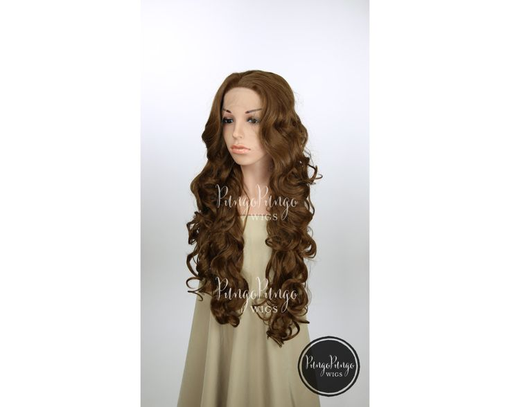 Dark Brown Wig /Long Curly Lace Front Wig /Womens Costume Elf Game of Thrones Cosplay Star Wars Warcraft Overwatch / Princess Series LP049 by PungoPungo on Etsy