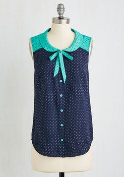 Fashionably Elate Top in Blue Cute use of polka dot color swap
