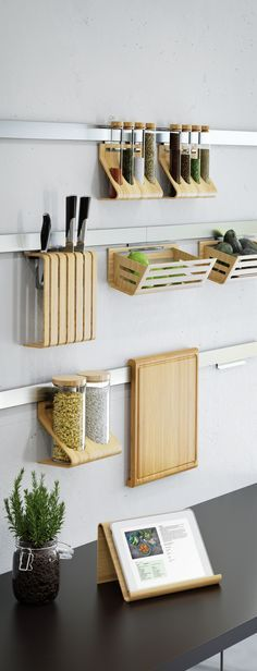 Made from steel, glass and durable, easy-care, natural bamboo, RIMFORSA series is a stylish way to organize kitchen essentials and keep them close at hand.