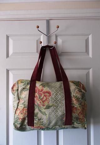 large, vintage style Tapestry/ Weekend bag (overnight), over