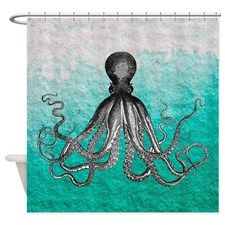 Ombre vintage nautical octopus shower curtain @kadenharrison this would be cool in the kids bathroom