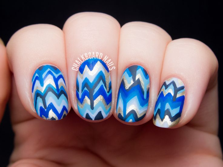Blue Dripping Chevron Nail Art by @chalkboardnails #31DC2014