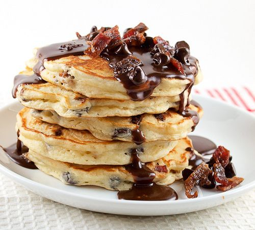 Chocolate Chip and Candied Bacon Pancakes with Nutella Maple Syrup. Death by Breakfast. From evilshenanigans.com