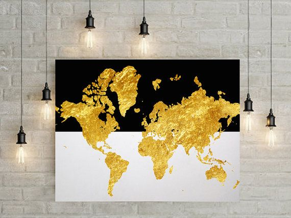 Gold foil world map printable with black and white stripes, no quote - best of world map white background