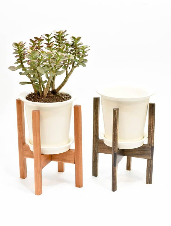 Mid Century Modern Plant Stand With Pot Indoor