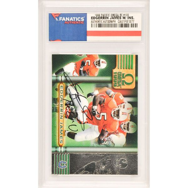Edgerrin James Miami Hurricanes Fanatics Authentic Autographed 1999 Pacific Omega Rookie #100 Card with The 'U' Inscription - $89.99