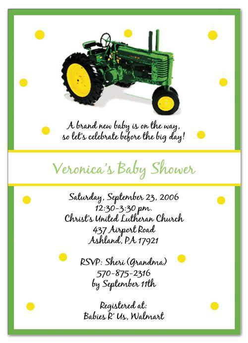John Deere Baby Shower Invitations Printable