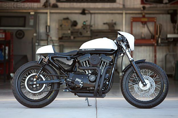 """DP Custom Cycles have built their reputation on classy Ironhead Harleys. But this latest build, """"Black & White"""", is based on an Evo-engined  Sportster 1200."""