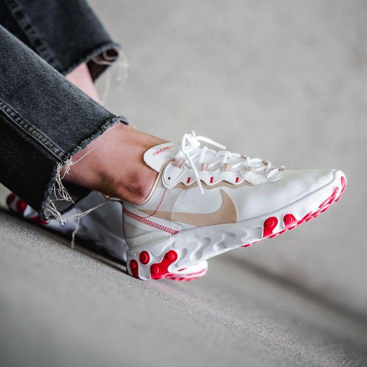 Nike React Element 55 Frauenschuh weiß / rot   Chaussures de sport ...