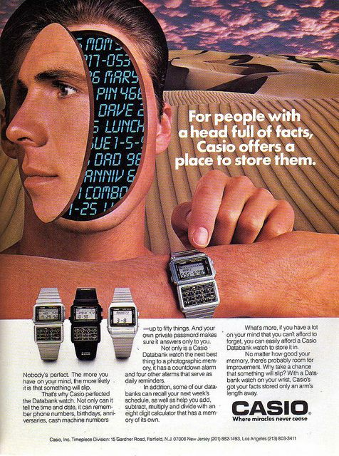 """For people with a head full of facts, Casio offers a place to store them"", Casio Databank Watch, 1974"