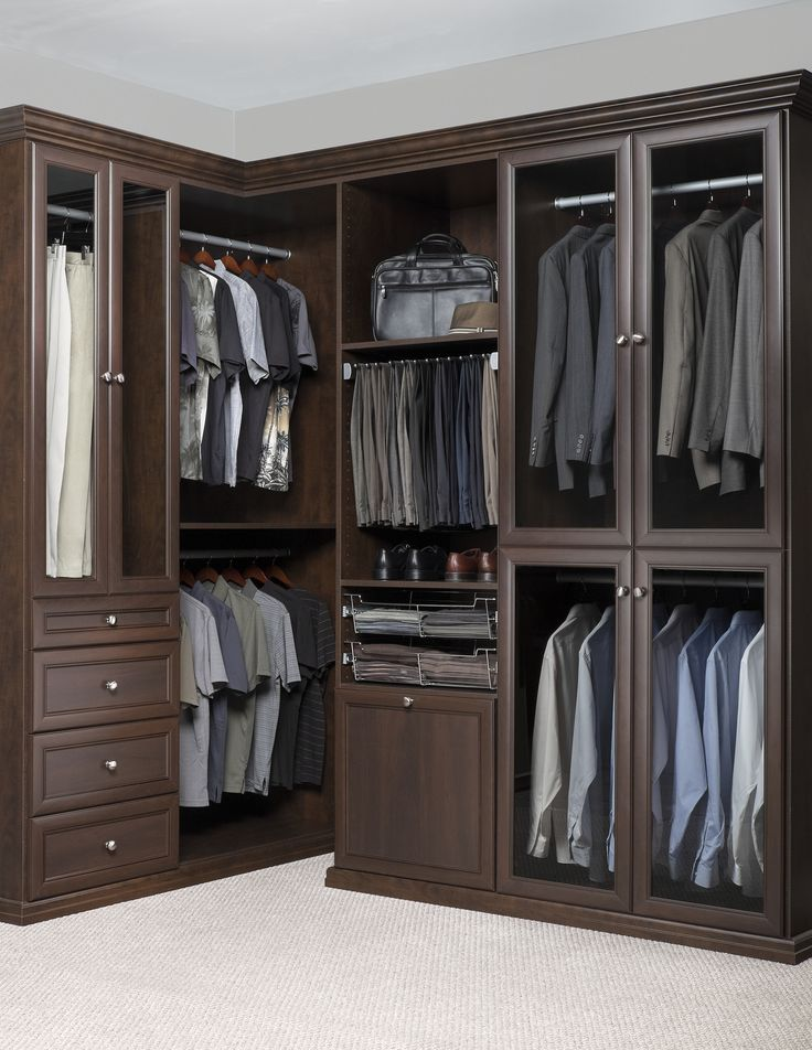 Bon Walk In Closet With Glass Inserts In Chocolate Pear Premier