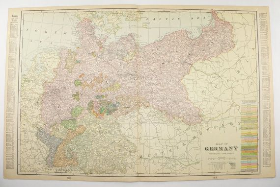 1902 Antique Map of Germany, Belgium Map Denmark, Netherlands Map Switzerland, Old World Map, German Decor Gift for Couple, Vintage Art Map available from OldMapsandPrints on Etsy