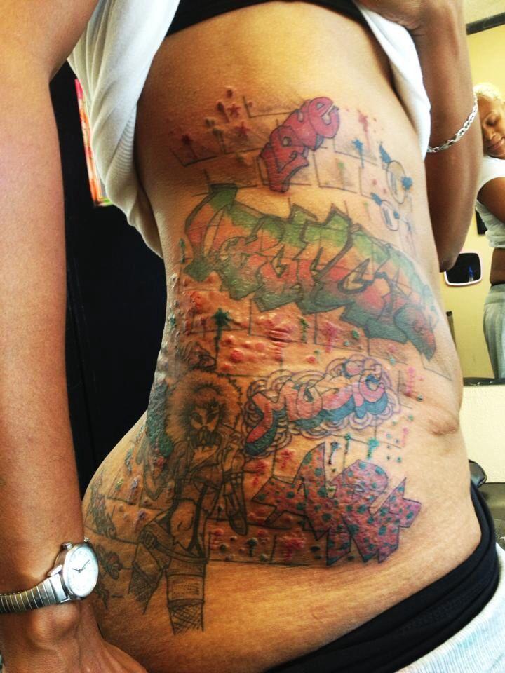 Graffiti Tattoo Designs For Women Cool colored graffiti tattoos