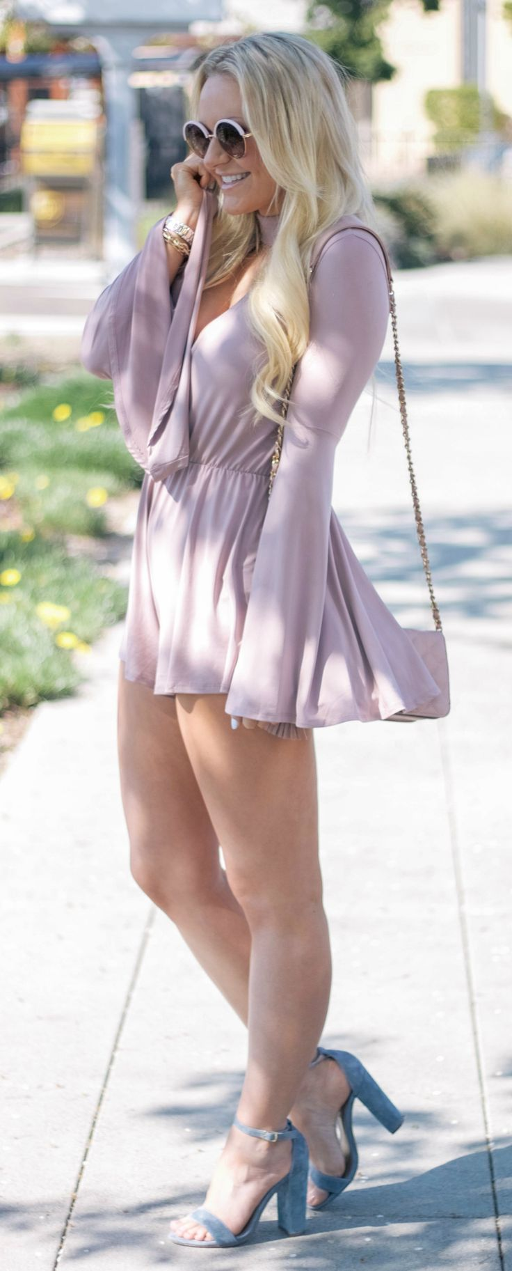 Mauve Bell Sleeve Romper and Blue Suede Shoes