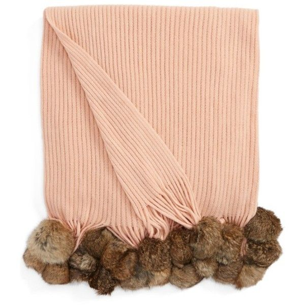 Echo Genuine Rabbit Fur Pompom Rib Knit Throw (320 BRL) ❤ liked on Polyvore featuring home, bed & bath, bedding, blankets, blush, blush throw blanket, pom pom bedding, rabbit fur throw, pom pom blankets and pom pom throw blanket
