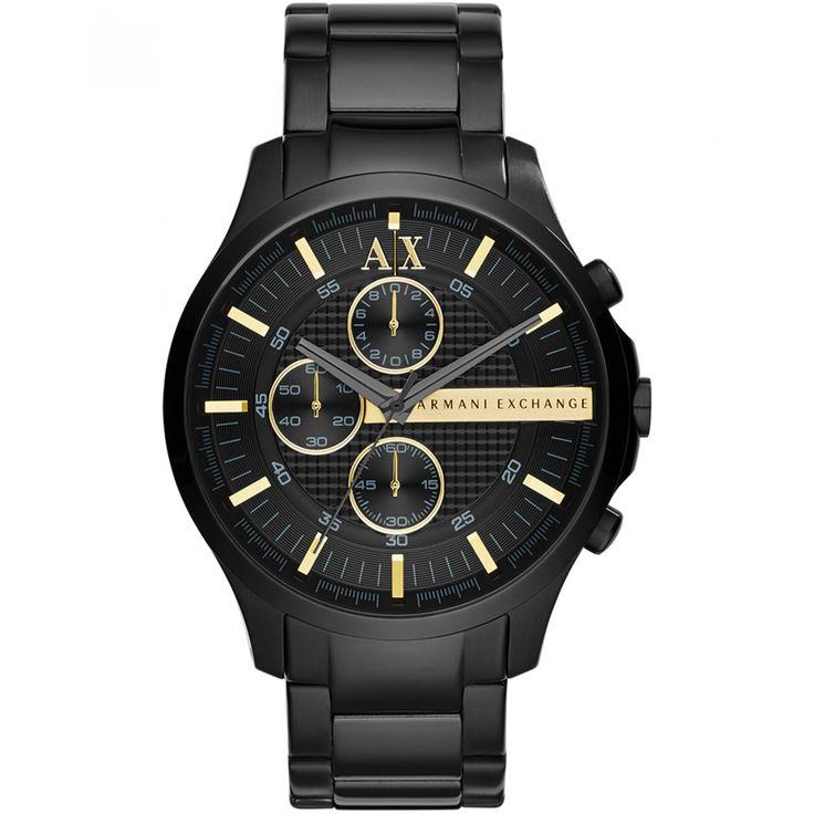 Reloj Armani Exchange extensible tipo brazalete en acero inoxidable con acabado cepillado en tono negro; carátula texturizada a tono manecillas e indicadores a contraste y detalle de la marca metalizado.