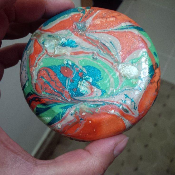 DIY marbiling on air dry clay bowl